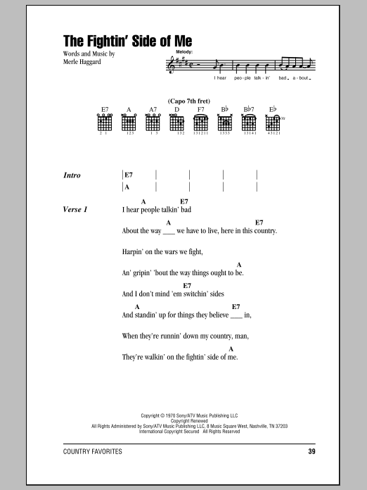 The Fightin' Side Of Me (Guitar Chords/Lyrics)