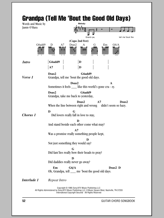 Grandpa (Tell Me 'Bout The Good Old Days) Sheet Music