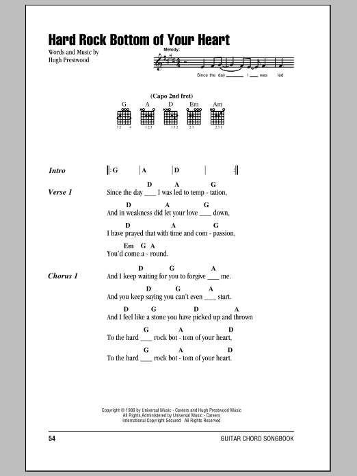 Hard Rock Bottom Of Your Heart sheet music by Randy Travis (Lyrics ...