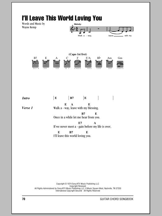 I'll Leave This World Loving You Sheet Music