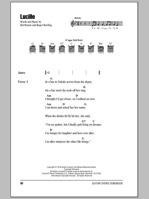 Lucille by Kenny Rogers - Guitar Chords/Lyrics - Guitar Instructor