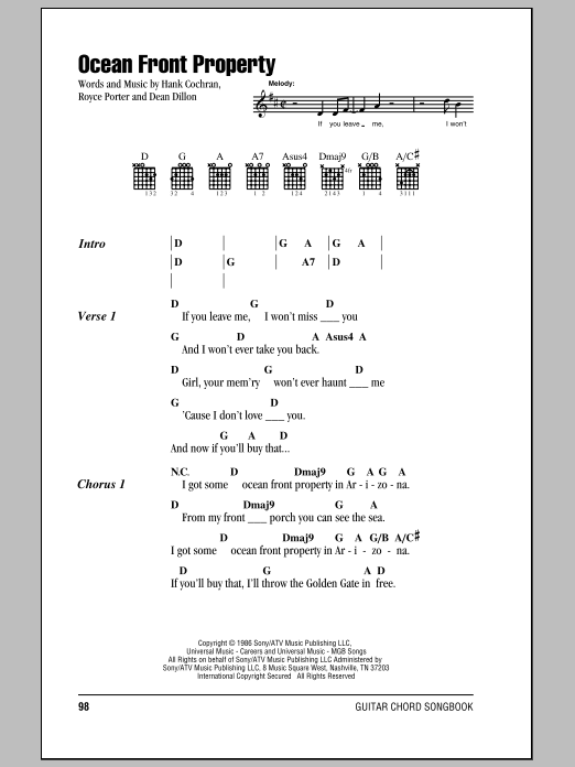 Ocean Front Property Sheet Music