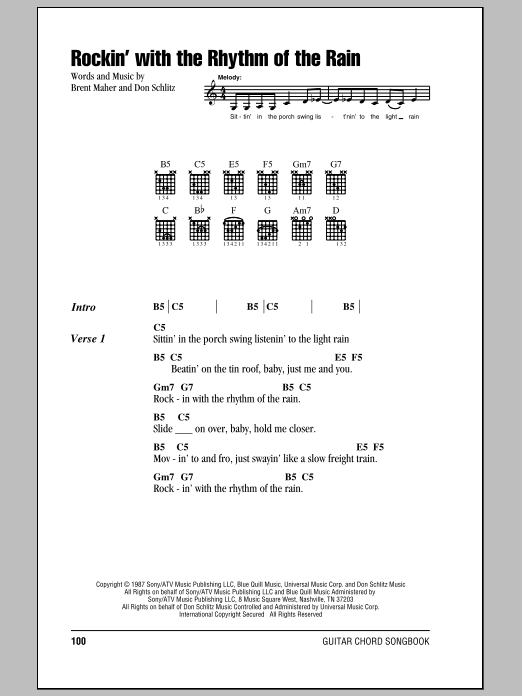 Rockin With The Rhythm Of The Rain By The Judds Guitar Chords