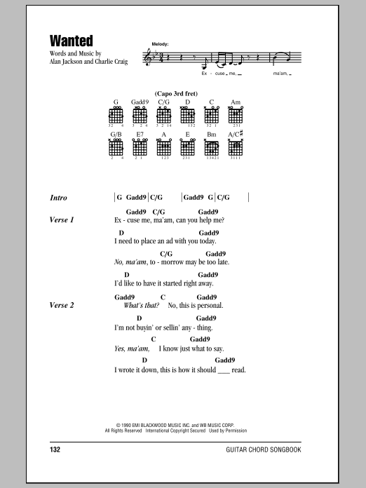 Wanted Sheet Music