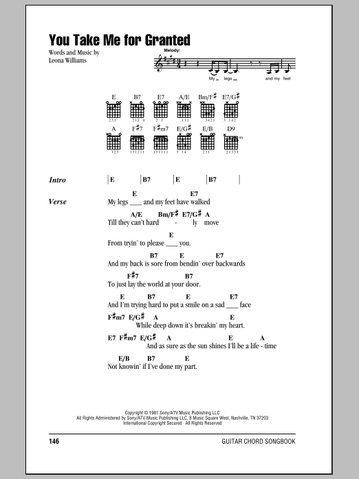 You Take Me For Granted Sheet Music