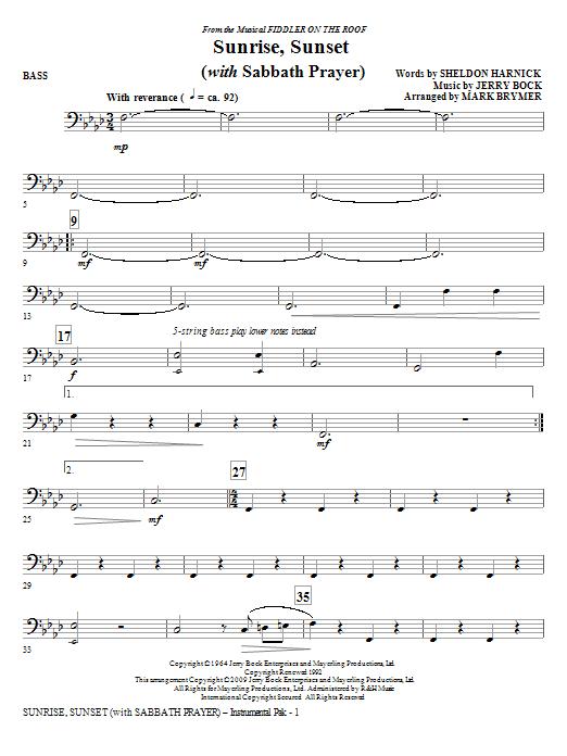 Sunrise, Sunset (with Sabbath Prayer) - Bass (Choir Instrumental Pak)