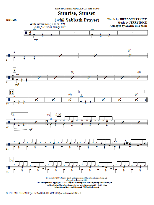 Sunrise, Sunset (with Sabbath Prayer) - Drums (Choir Instrumental Pak)