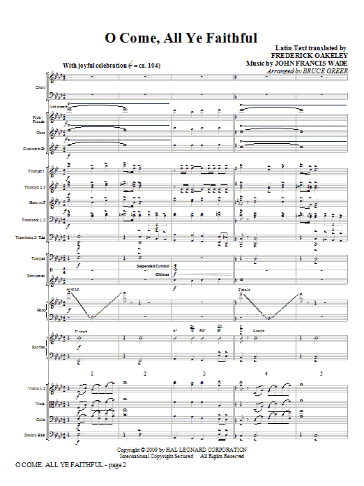 O Come, All Ye Faithful (COMPLETE) sheet music for orchestra/band (Orchestra) by Bruce Greer, Frederick Oakeley and John Francis Wade. Score Image Preview.