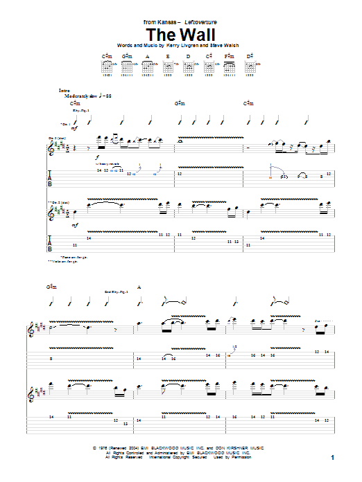 Tablature guitare The Wall de Kansas - Tablature Guitare