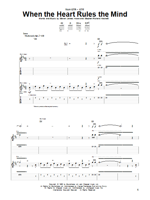 Tablature guitare When The Heart Rules The Mind de GTR - Tablature Guitare