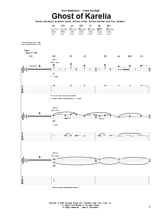 Tablature guitare Ghost Of Karelia de Mastodon - Tablature Guitare