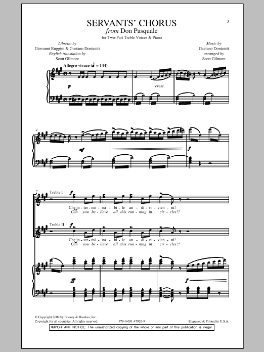 Servants' Chorus Sheet Music