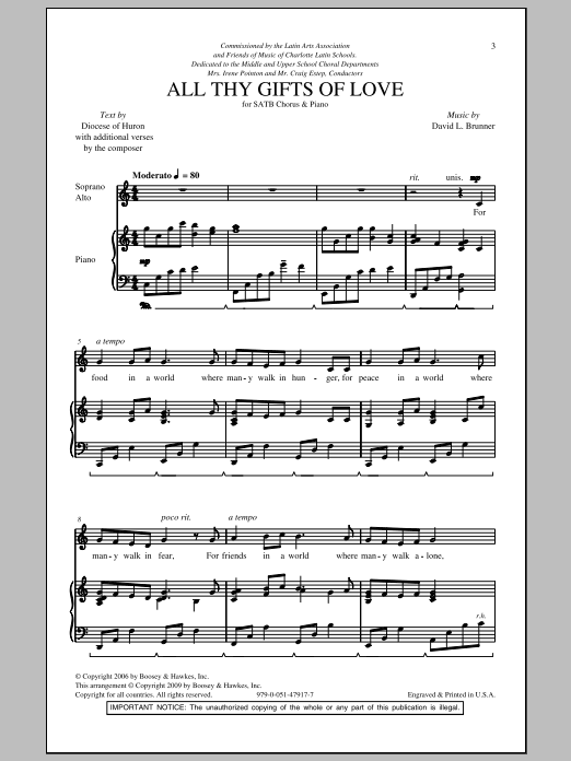 All Thy Gifts Of Love Sheet Music