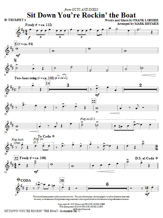 Sit Down You're Rockin' The Boat - Bb Trumpet 1