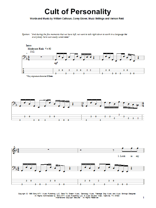 Tablature guitare Cult Of Personality de Living Colour - Tablature Basse