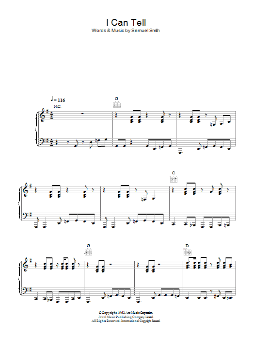 I Can Tell (Piano, Vocal & Guitar)
