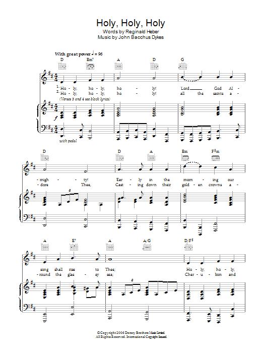 Holy, Holy, Holy (Piano, Vocal & Guitar)