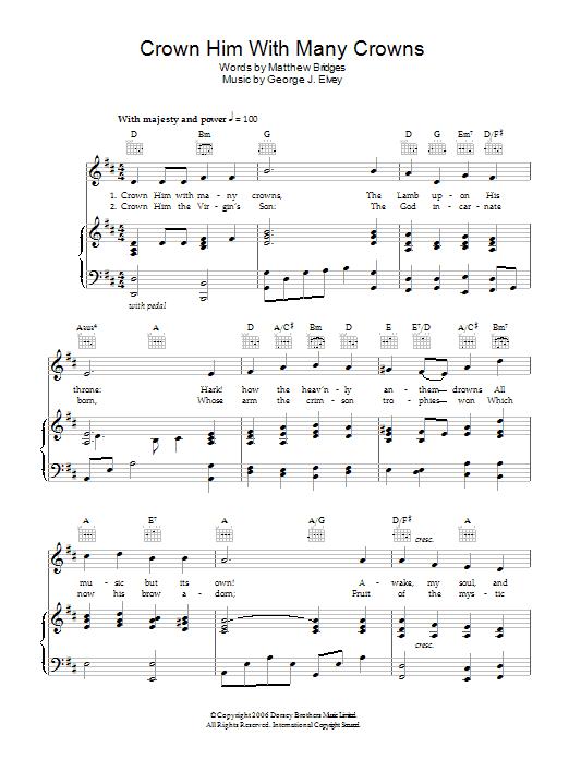 Crown Him With Many Crowns Sheet Music | Matthew Bridges | Piano ...