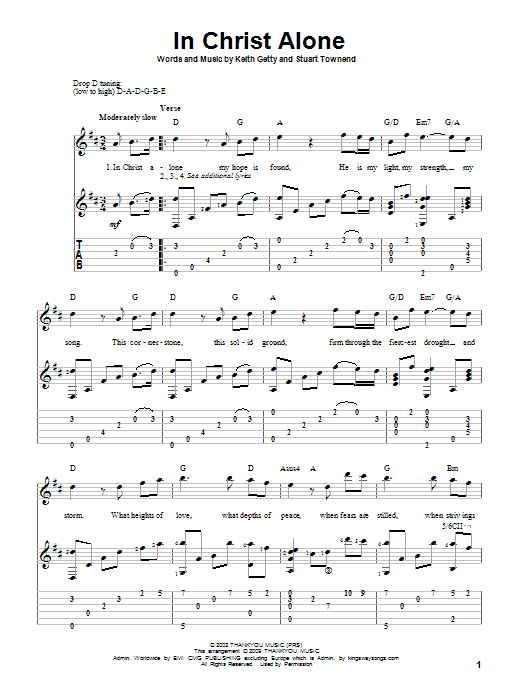 In Christ Alone Sheet Music Newsboys Guitar Tab