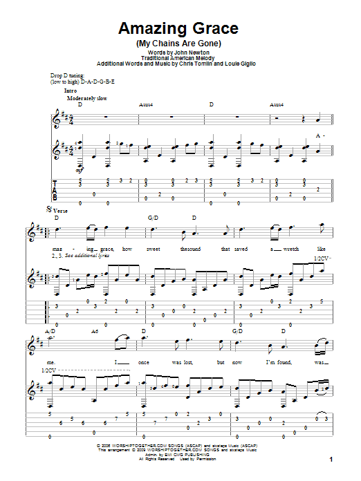 Amazing Grace (My Chains Are Gone) Guitar Tab by Chris Tomlin ...