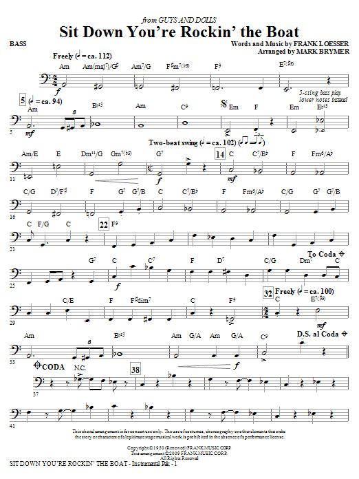 Sit Down You're Rockin' The Boat - Bass (Choir Instrumental Pak)