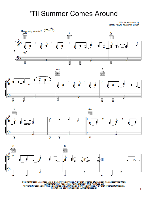 Piano urban piano chords : Til Summer Comes Around sheet music by Keith Urban (Piano, Vocal ...