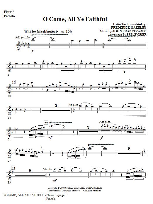O Come, All Ye Faithful - Flute/Piccolo Sheet Music