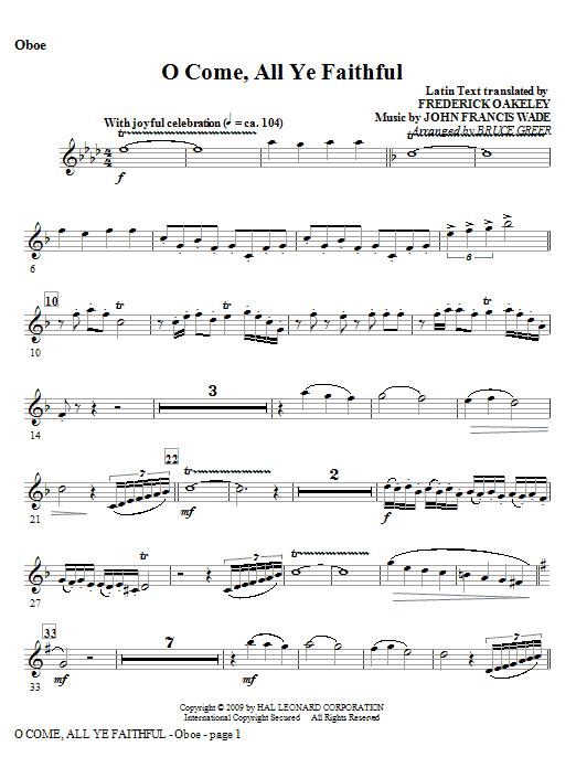 O Come, All Ye Faithful - Oboe Sheet Music