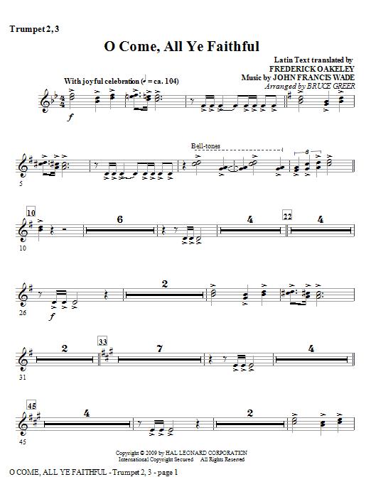 O Come, All Ye Faithful - Bb Trumpet 2,3 Sheet Music