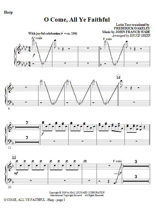 O Come, All Ye Faithful - Harp Sheet Music