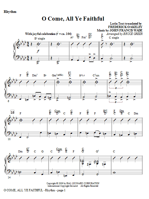 O Come, All Ye Faithful - Rhythm Sheet Music