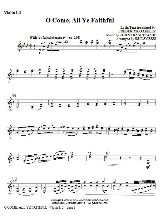 O Come, All Ye Faithful - Violin 1, 2 Sheet Music