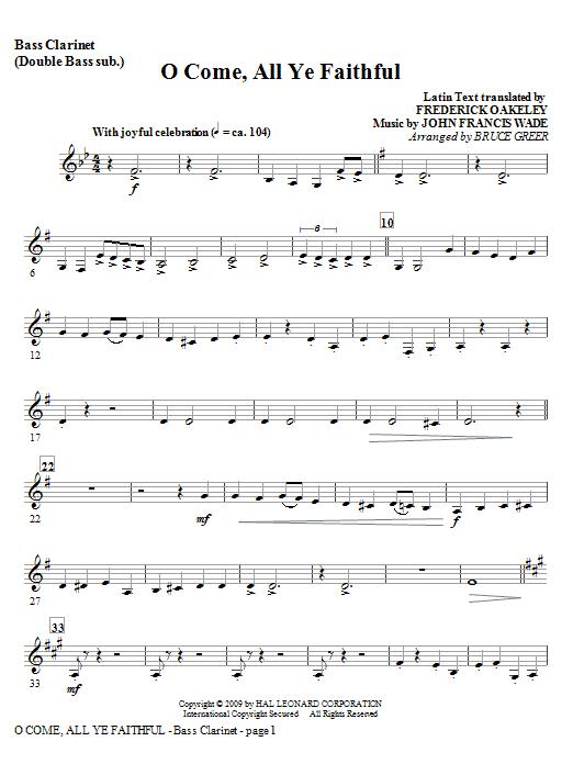 O Come, All Ye Faithful - Bass Clarinet (sub Bass) Sheet Music