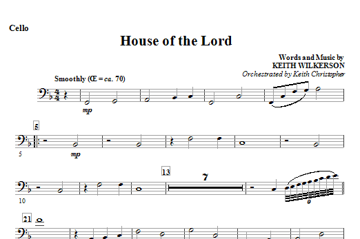 House Of The Lord - Cello Sheet Music