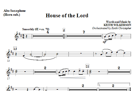 House Of The Lord - Eb Alto Saxophone (Horn) Sheet Music