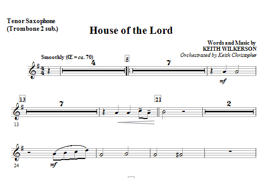 House Of The Lord - Alternate Tenor Sax Sheet Music