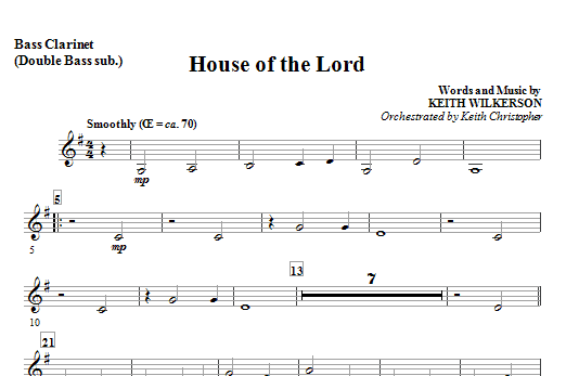 House Of The Lord - Opt. Bass Clarinet Sheet Music