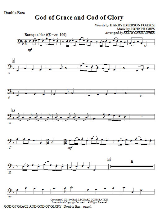 God Of Grace And God Of Glory - Double Bass Sheet Music