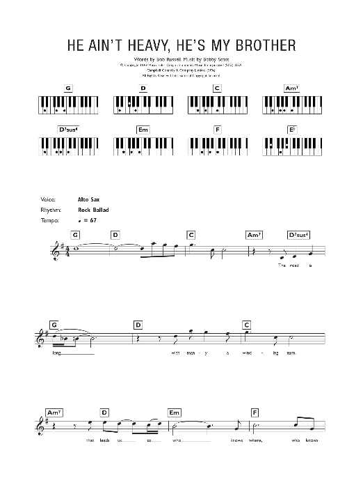 He Ain't Heavy, He's My Brother Sheet Music