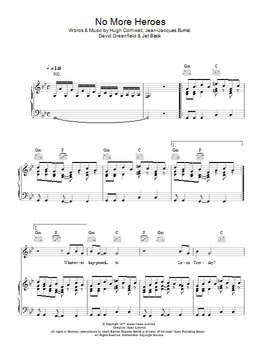 No More Heroes (Piano, Vocal & Guitar)