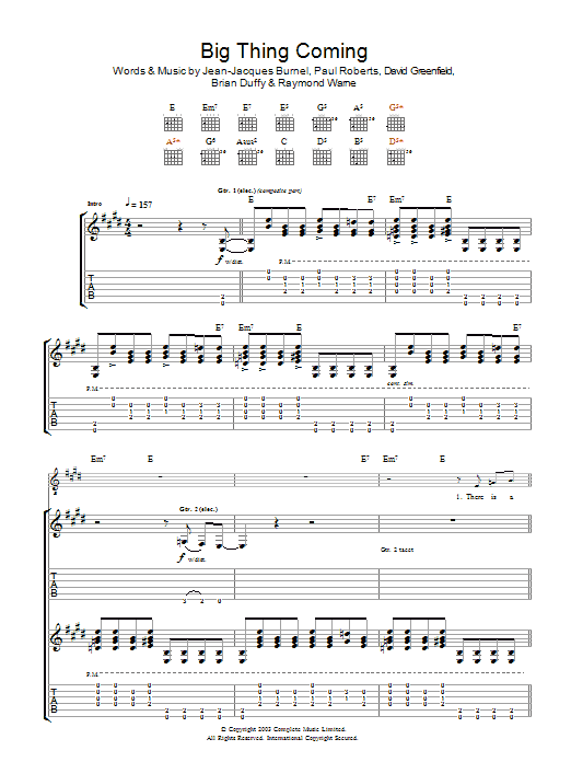Big Thing Coming (Guitar Tab)