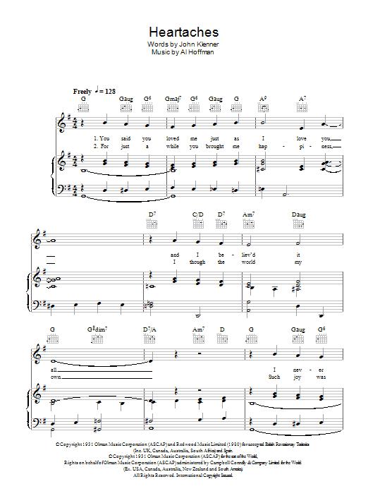 Heartaches (Piano, Vocal & Guitar)