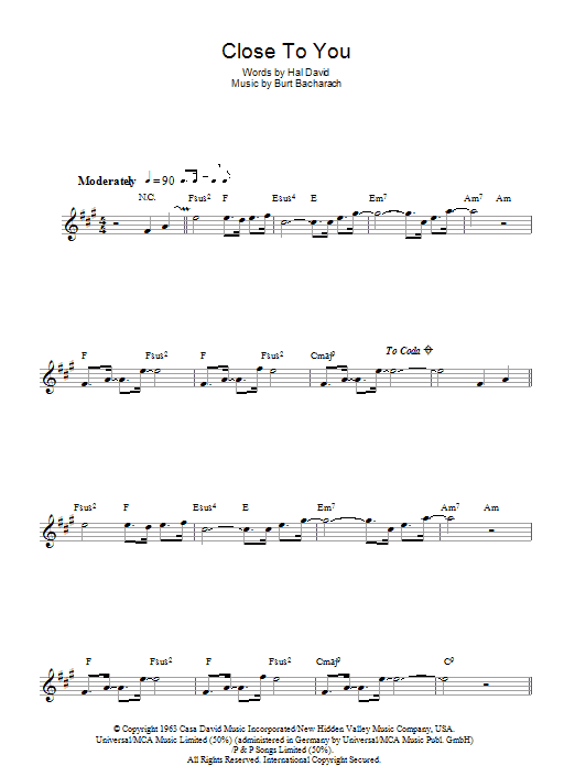 (They Long To Be) Close To You (Lead Sheet / Fake Book)