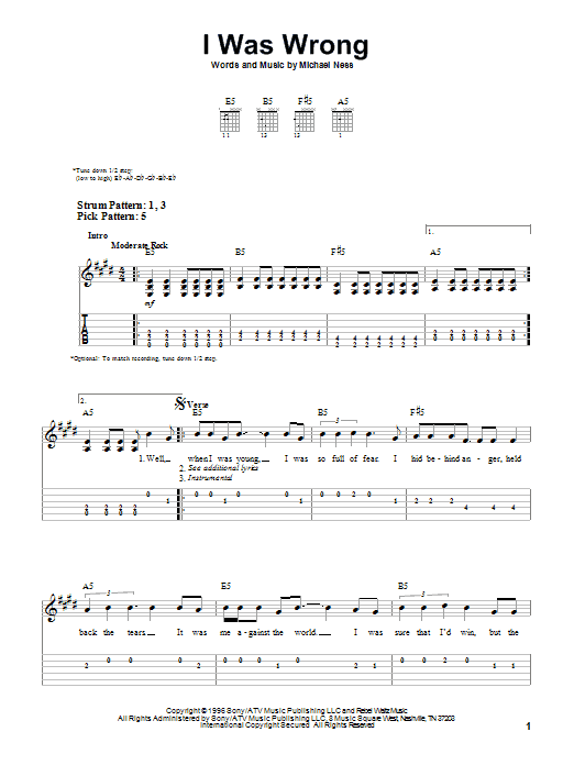 I Was Wrong (Easy Guitar Tab)