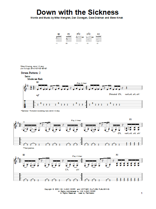 Down With The Sickness (Easy Guitar Tab)