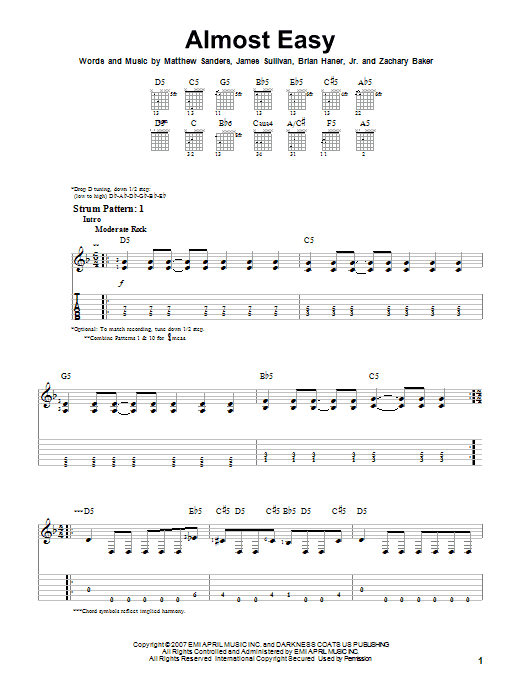 Almost Easy By Avenged Sevenfold Easy Guitar Tab Guitar Instructor
