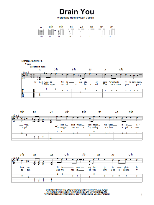 Tablature guitare Drain You de Nirvana - Tablature guitare facile