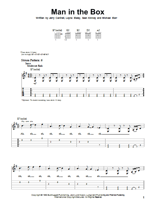 Man In The Box By Alice In Chains Easy Guitar Tab Guitar Instructor