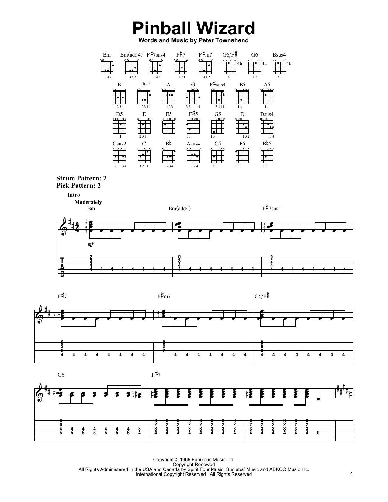 Tablature guitare Pinball Wizard de The Who - Tablature guitare facile