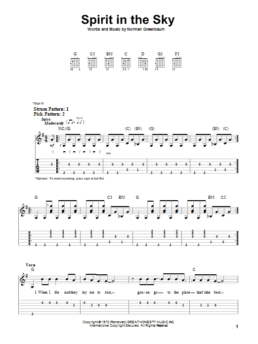 Tablature guitare Spirit In The Sky de Norman Greenbaum - Tablature guitare facile